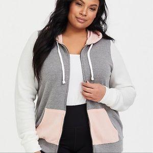 Torrid 3X Blush Grey Colorblock Hooded Jacket